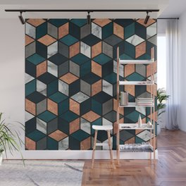 Copper, Marble and Concrete Cubes with Blue Wall Mural