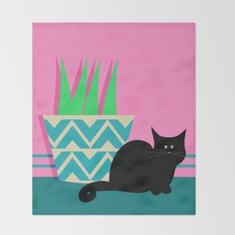 Cat and potted plant Throw Blanket