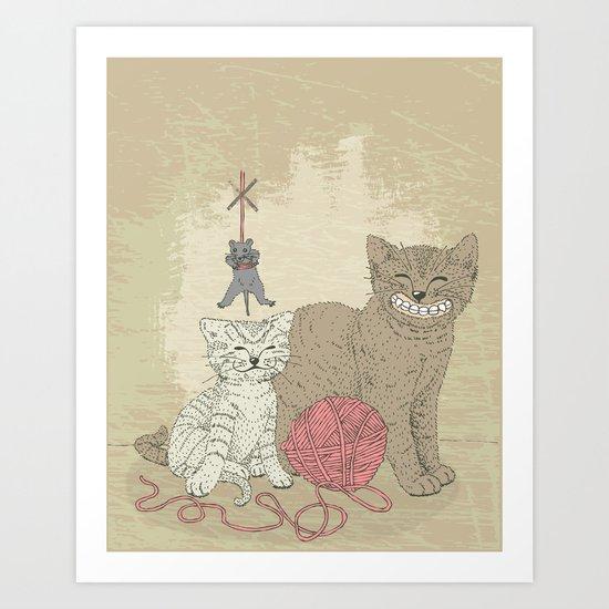 Naughty Cats Art Print