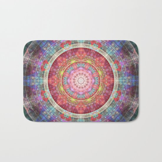 groovy colourful mandala filled with tribal patterns Bath Mat