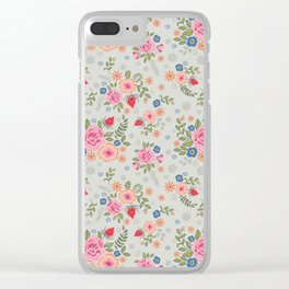 Embroidered Flowers - Light Clear iPhone Case