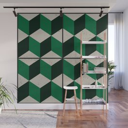Vintage tiles - green isometric cubes Wall Mural
