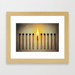 match burning alone Framed Art Print
