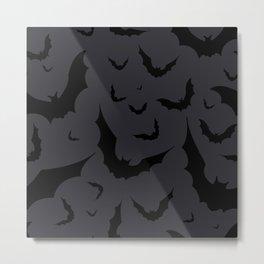 Bat Attack in Black + Charcoal Gray Metal Print