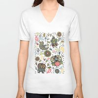 woodland V-neck T-shirts featuring Woodland by Sarah Doherty
