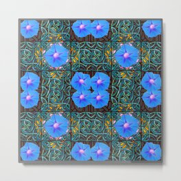 Blue Morning Glories Floral Art Nouveau Metal Print