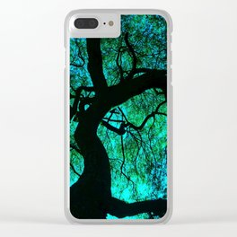 Under The Tree Blue and Green Clear iPhone Case