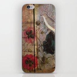 wood grain vintage bird french scripts poppy flower botanical art iPhone Skin