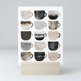 Pretty Coffe Cups 3 - White Mini Art Print