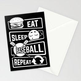 Eat Sleep Baseball Repeat - Home Run Strike Batter Stationery Cards