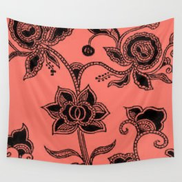 Vintage Floral Peach Echo Wall Tapestry