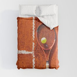 Tennis racket with ball on tennis court Comforters