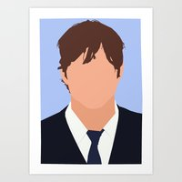 ashton irwin Art Prints featuring Ashton Kutcher Digital Portrait by RoarsAdams