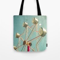 ferris wheel Tote Bags featuring Ferris Wheel by Cassia Beck