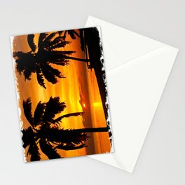 Sunset painting with intricate border Stationery Cards