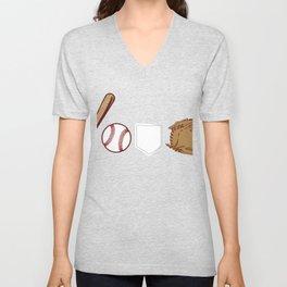 Unique Baseball Shirt For Sporty You T-shirt Design Field Bat Home Run Sports Pocket Gloves Unisex V-Neck