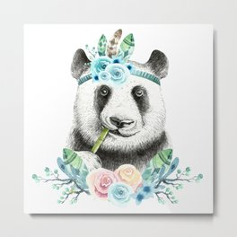 Watercolor Floral Spray Boho Panda Metal Print