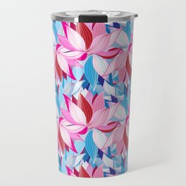 Vector seamless pattern beautiful pink lotus flowers on a black background Travel Mug