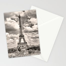 Eiffel Tower in sepia in Paris, France. Landmark in Europe Stationery Cards