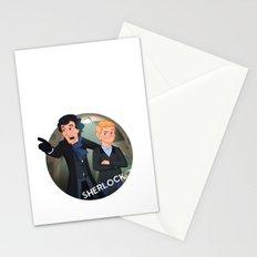 Sherlock Holmes and Watson cartoon Stationery Cards