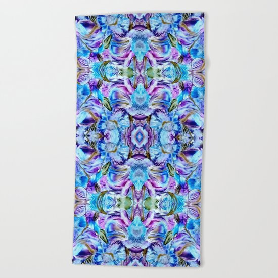 Turquoise Blue Flower Girly  Pattern Beach Towel