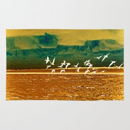 A Flock of White Pelicans Watercolor Rug