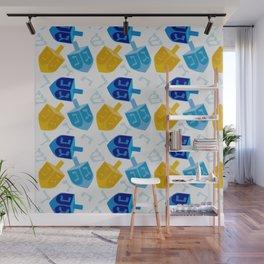 Happy Hanukkah Holidays Blue and Gold Dreidel Pattern Wall Mural