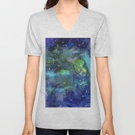 Space Galaxy Blue Green Watercolor Nebula Painting Unisex V-Neck