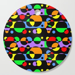 Rainbow Geometric Multicolored Modern Circle Pattern Cutting Board