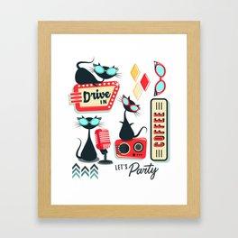 Retro Kitty Party Framed Art Print