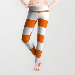 Bright Tumeric Orange and White Wide Horizontal Cabana Tent Stripe Leggings