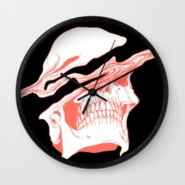 Liquify Skull in black and living coral Wall Clock