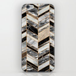 Abstract Chevron Pattern - Black and White Marble iPhone Skin