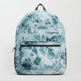 Emerald-Opal-Color Ocean Waves Enveloping Black Sand Beach Backpack