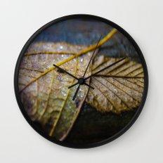 Water on a fall leaf  Wall Clock