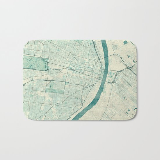 St. Louis Map Blue Vintage Bath Mat