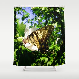 Swallowtail Butterfly Inside Hibiscus Blossom Shower Curtain