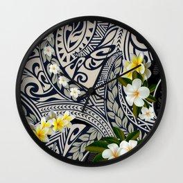Traditional Hawaiian Tapa and Plumeria Wall Clock