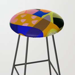Shapes and Layers no.20 - Abstract painting olive green blue orange black Bar Stool