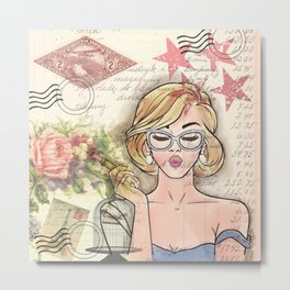 Girl with Lipstick Collage Metal Print