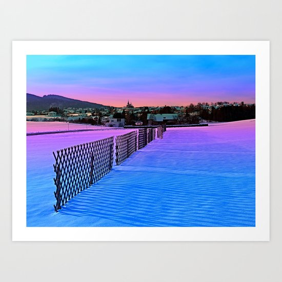 Fences on a winter sundown Art Print