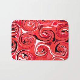 Red Apple Abstract Swirls Pattern Bath Mat