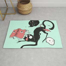 Funny Goth Black Cat With Magic Book Rug
