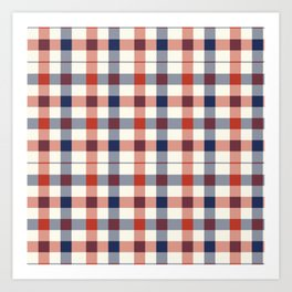Plaid Red White And Blue Lumberjack Flannel Design Art Print