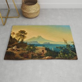 The Bay of Naples, Italy & Mount Vesuvius by Ludwig Richter Rug