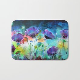 Purple Opium Poppies Modern Painting Bath Mat