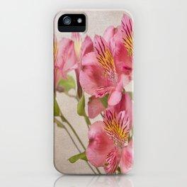 Pink Peruvian Lilies Alstroemeria iPhone Case