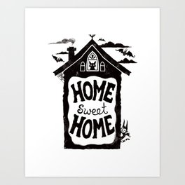 Home Sweet Home (with bats and cats and batcats) Art Print