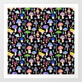 Colorful Mushroom Watercolor on Black Kunstdrucke