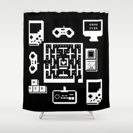 Geek Gamer Pattern Shower Curtain